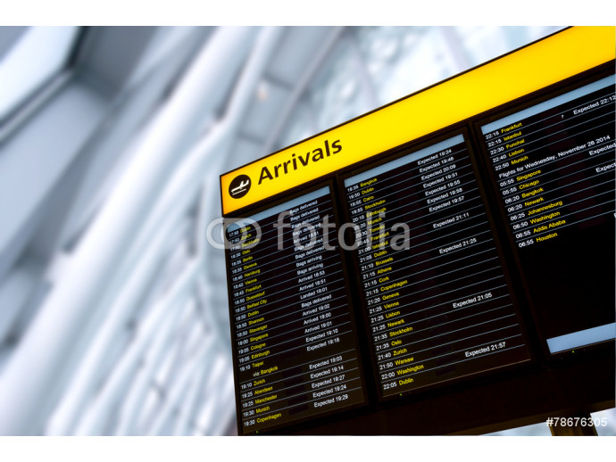 Check in, Airport Departure & Arrival information board sign 64238