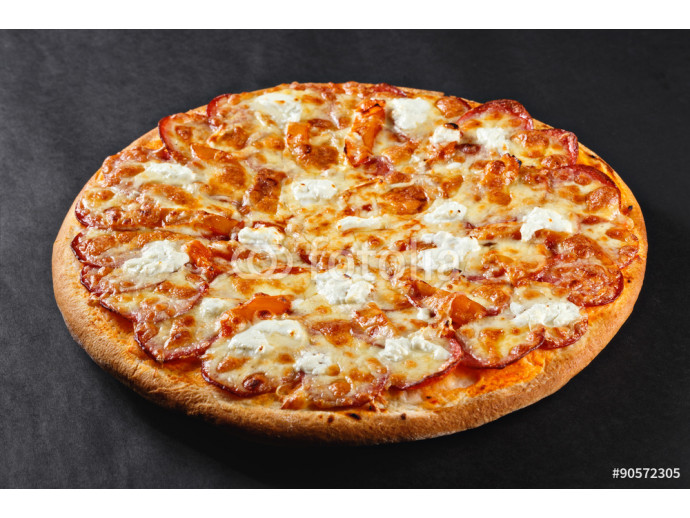Hot tasty delicious rustic homemade american pizza with thick crust 64238