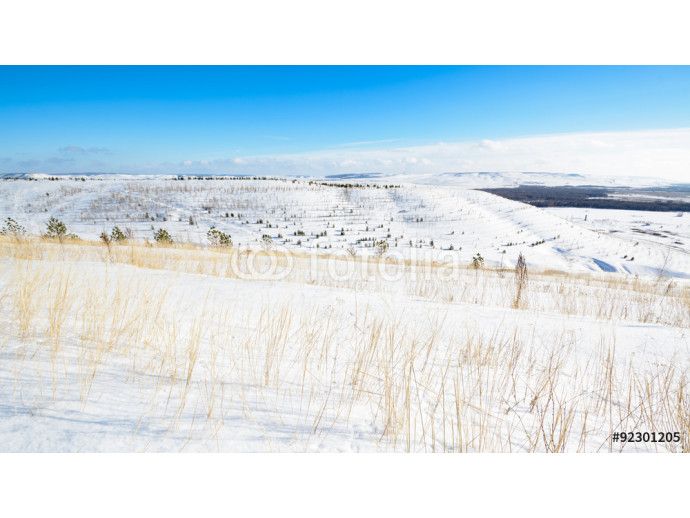 Fototapeta Panoramic view of the snow-covered hills 64238