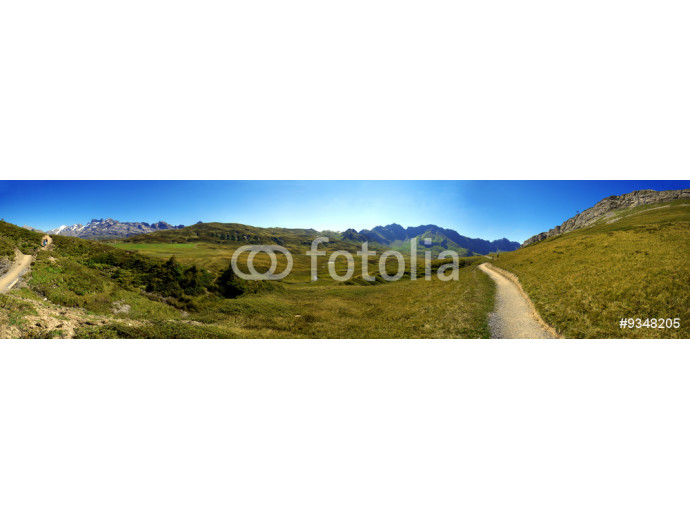 Fotomurale Hiking path in swiss mountains. Panorama view. 64238
