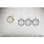 A pocket watch as a swing of the pendulum. Concrete background. 3D rendering. Time is money concept. 64238