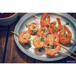 Grilled shrimps on skewers with dipping sauce 64238