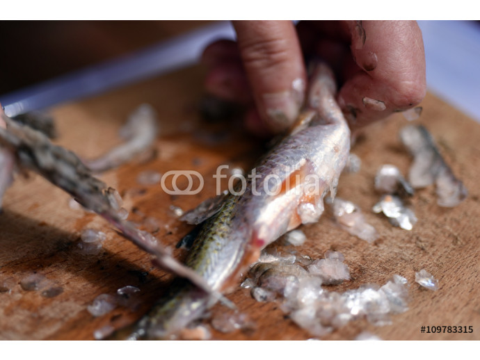 Fisherman cleaning a fish for dinner 64238