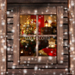 Christmas tree and fireplace seen through a wooden cabin window 64238
