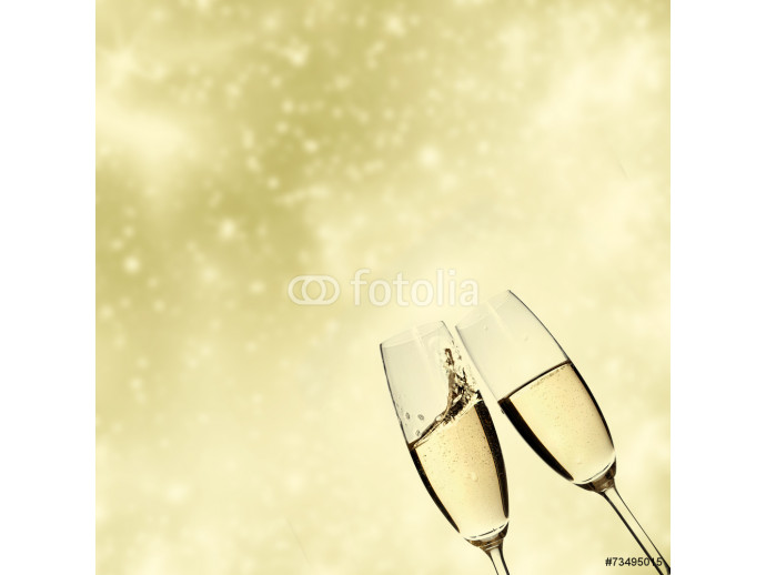 Toasting with champagne glasses on sparkling holiday background 64238