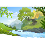 River stream flowing down through a lush green forest 64238