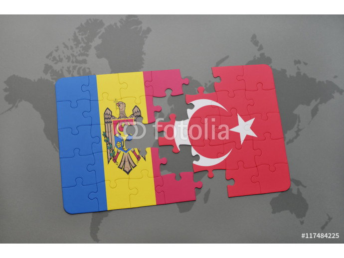 puzzle with the national flag of moldova and turkey on a world map background. 64238