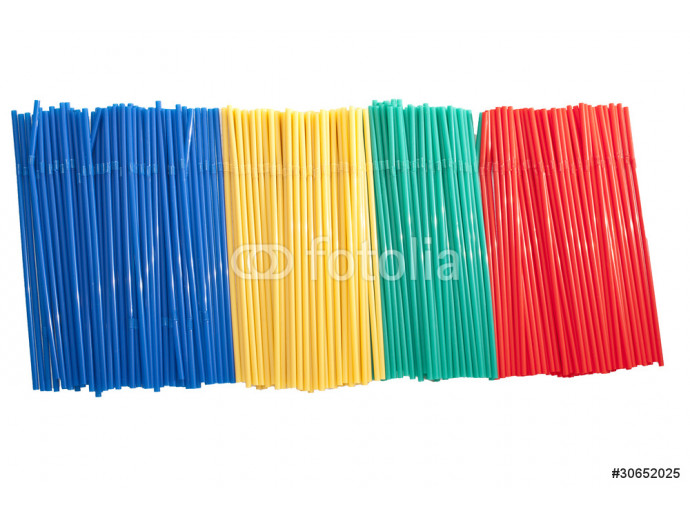 A large group of colored  plastic straw 64238