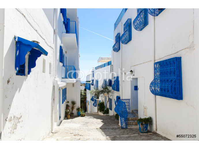 Sidi Bou Said in Tunisia, streets and buildings near town center 64238