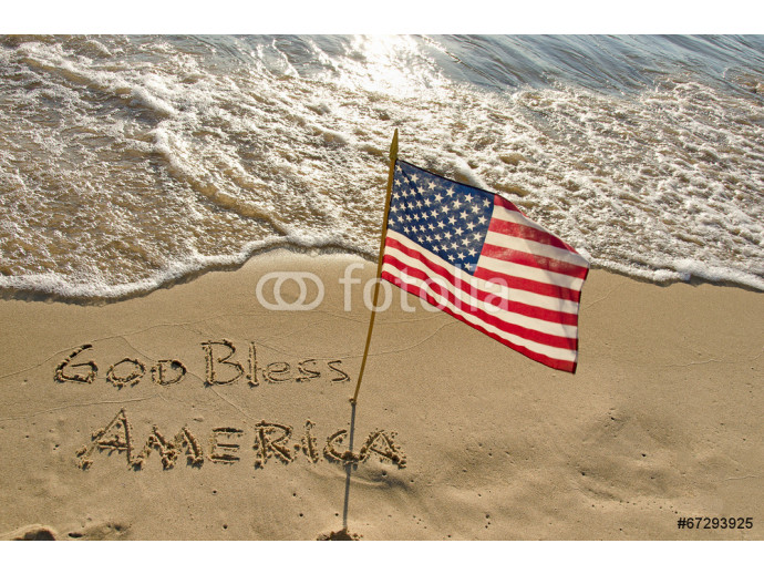 American flag in beach sand 64238