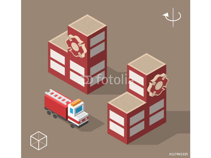 Set of Isolated Isometric Minimal City Elements. Fire Station with Shadows. 64238