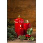 Christmas candles with evergreen decorations 64238