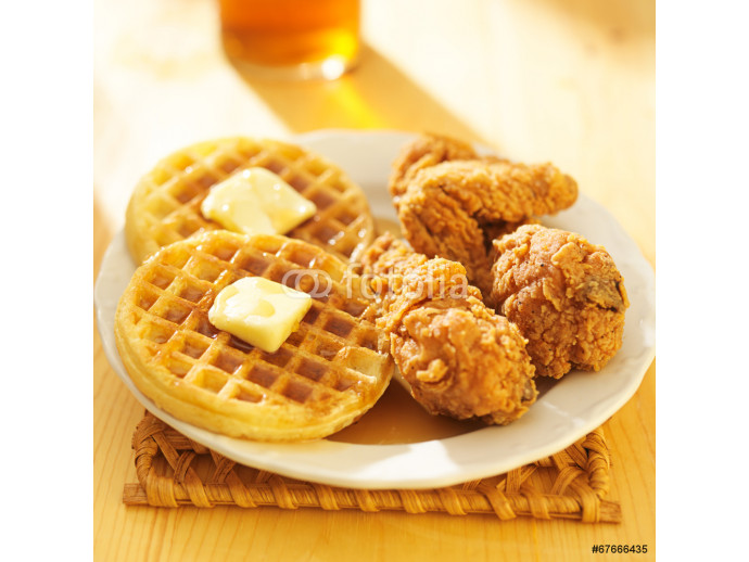 Fototapeta fried chicken and waffles meal 64238