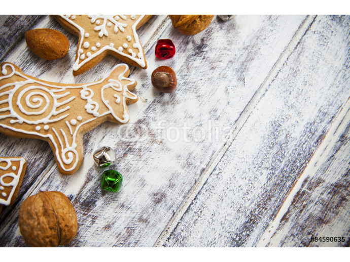 Christmas gingerbread cookies on white table 64238