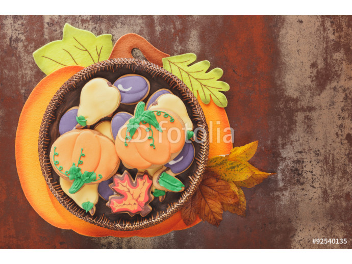 Thanksgiving cookies  on rustic table  64238