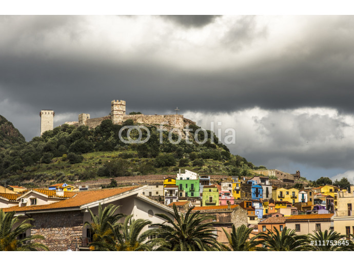 Colorful houses and the Malaspina castle of Bosa, Sardinia, Italy 64238