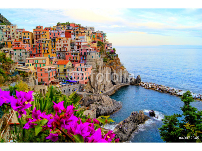 Cinque Terre coast of Italy with flowers 64238