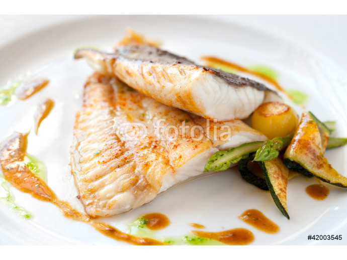 Grilled turbot fish with vegetables. 64238