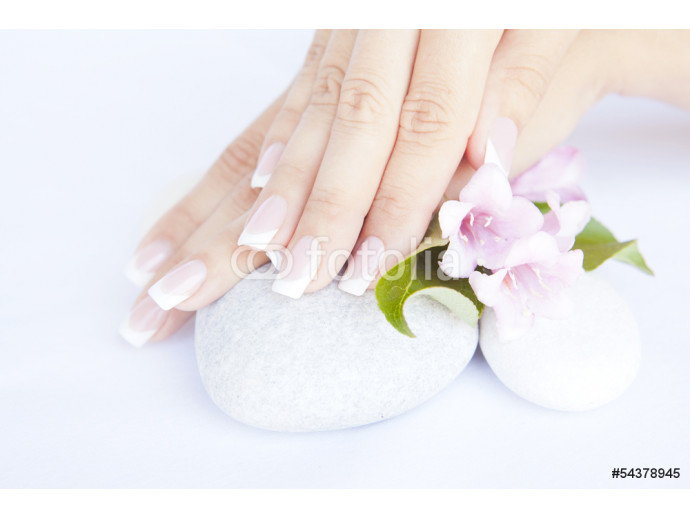 woman hands with beautiful french manicure nails 64238