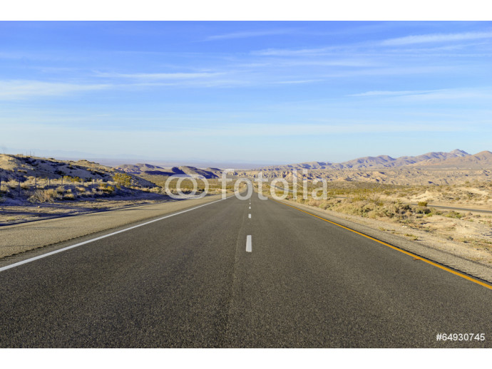 Driving on Remote Road in the Desert, Southwestern USA 64238