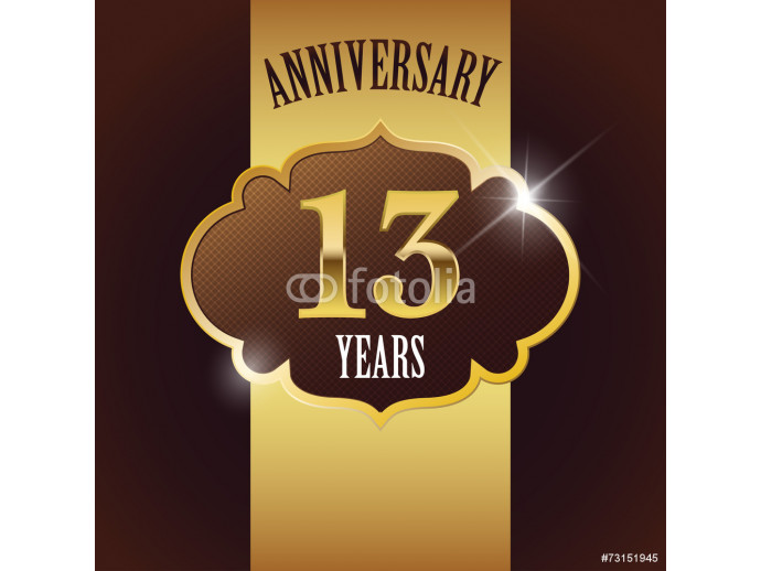 13 Years Anniversary, Golden Design Template /Background / Seal 64238