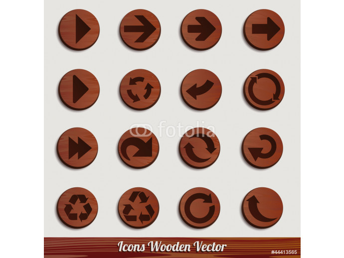 dark wooden icon set with different signs 64238