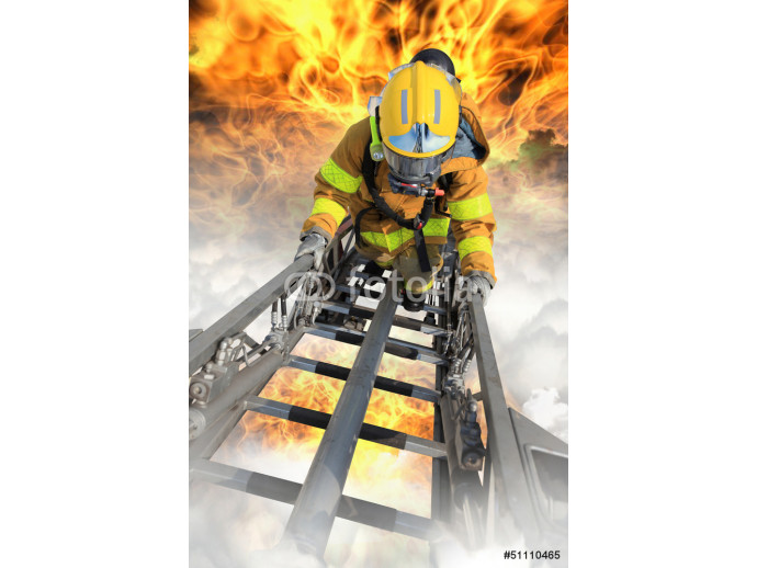 Firefighter ascends upon a one hundred foot ladder. 64238