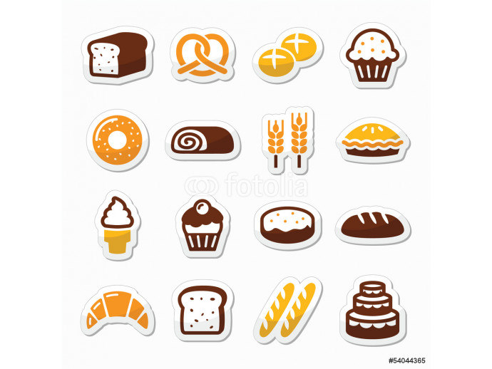Bakery, pastry icons set - bread, donut, cake, cupcake 64238