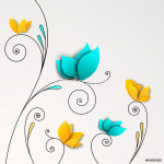 Five abstract paper flowers 64238