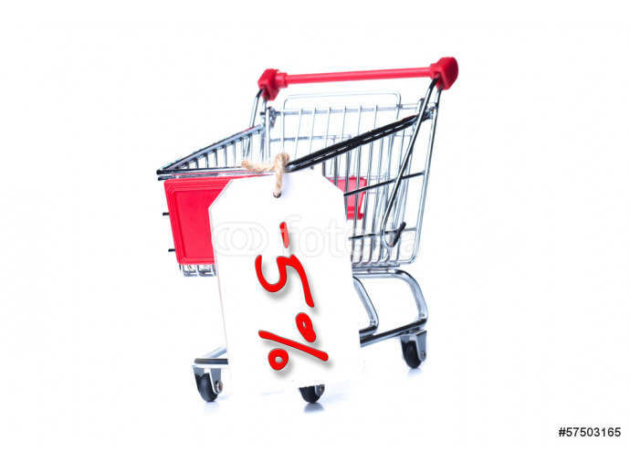 Shopping cart with 5 percent discount isolated on white 64238