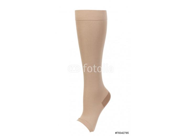 Knee-high medical compression stockings isolated on white 64238
