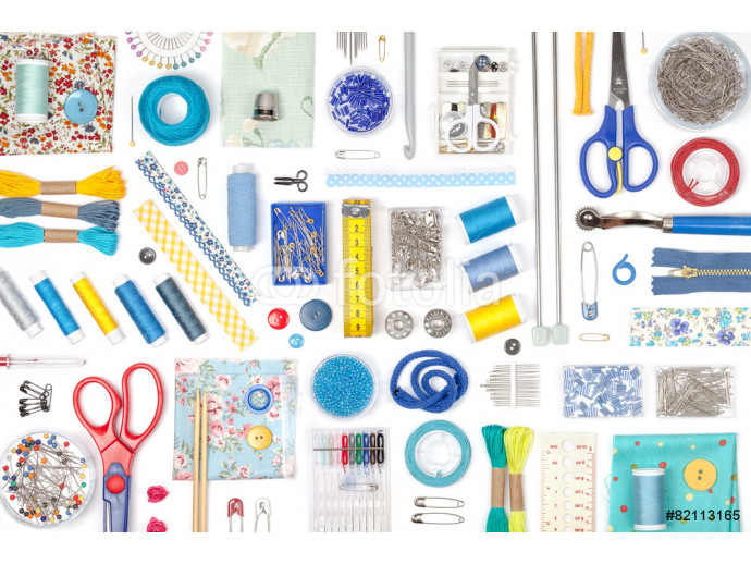 sewing and knitting on white background 64238