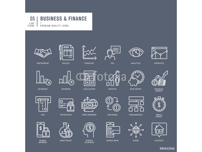 Set of thin lines web icons for business and finance 64238