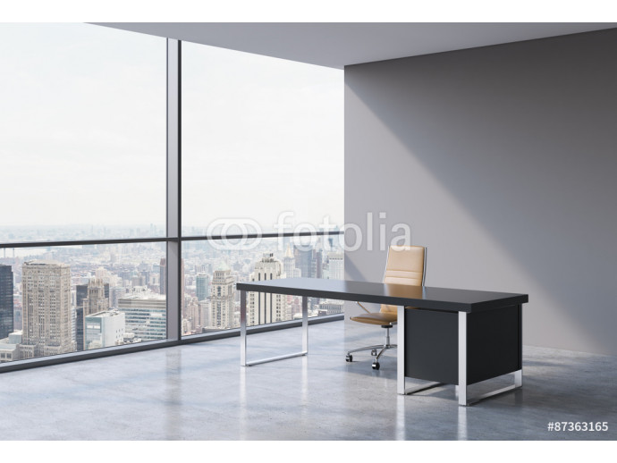 A workplace in a modern panoramic office, New York city view from the windows. A concept of financial consulting services. A brown leather chair and a black table. 3D rendering. 64238