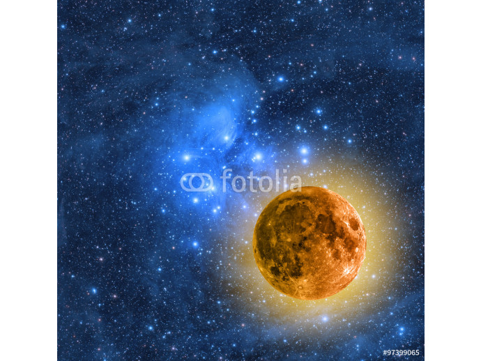 Moon and stars on a starry background.  64238