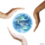 Earth with multiracial human hands. on white background. 64238