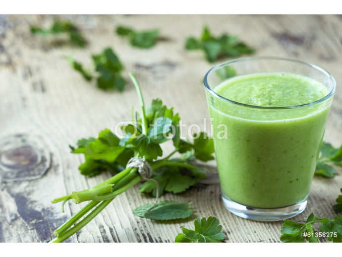 Green smoothie with parsley on wooden table 64238