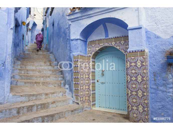 Fototapeta Street in medina of blue town Chefchaouen, Morocco 64238