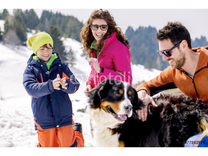 family with dog having fun in the snow 64238