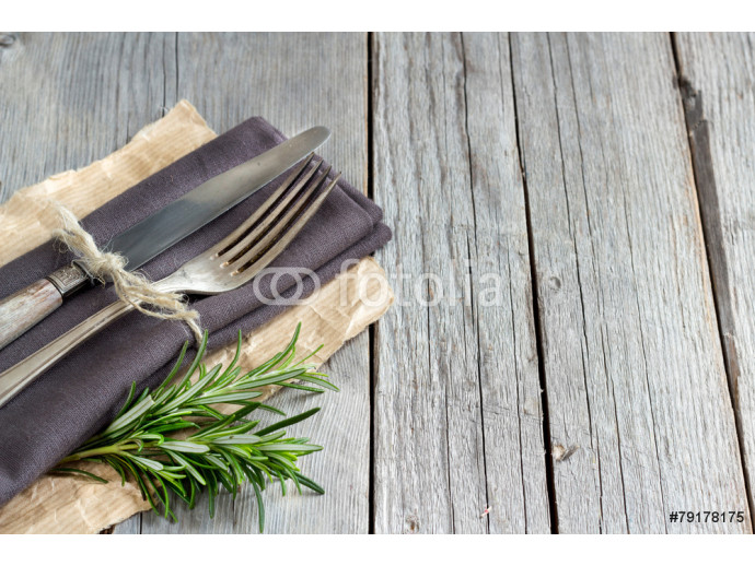 Vintage Table setting with rosemary decor 64238