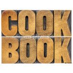 cookbook word abstract in wood type 64238