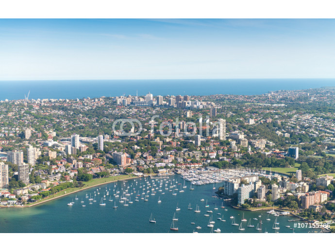 Sydney, Australia. Awesome aerial view from helicopter on a beau 64238