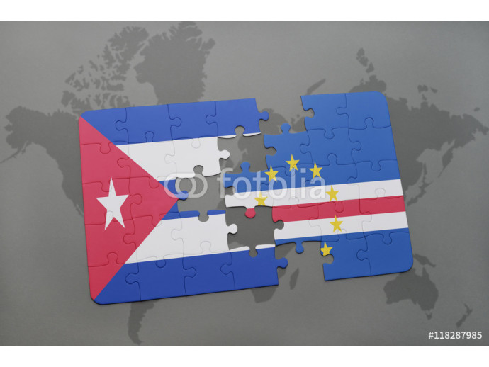 puzzle with the national flag of cuba and cape verde on a world map background. 64238