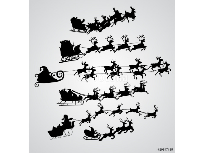 Silhouette Illustration of Flying Santa and Christmas Reindeer 64238