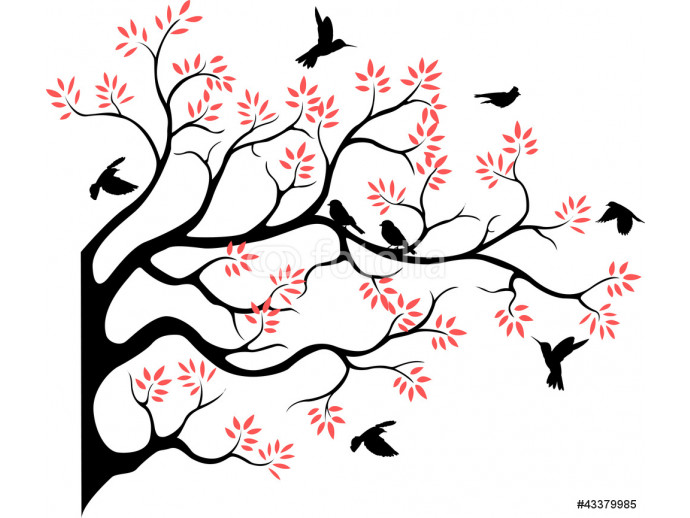 beautiful tree silhouette with bird flying 64238
