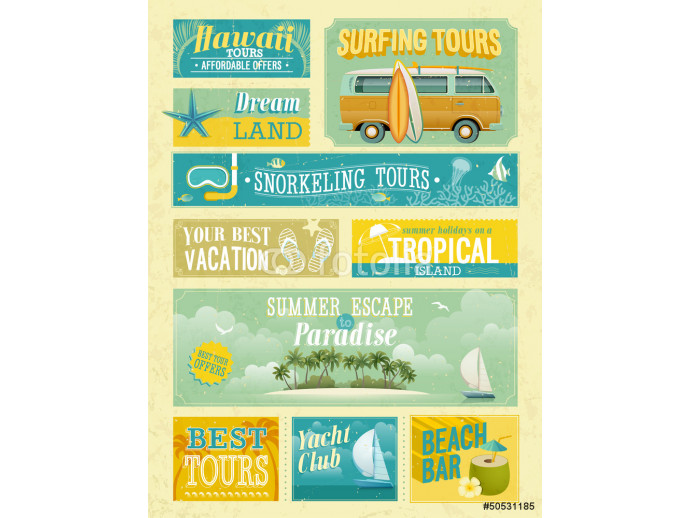 Vintage summer holidays and beach advertisements. 64238