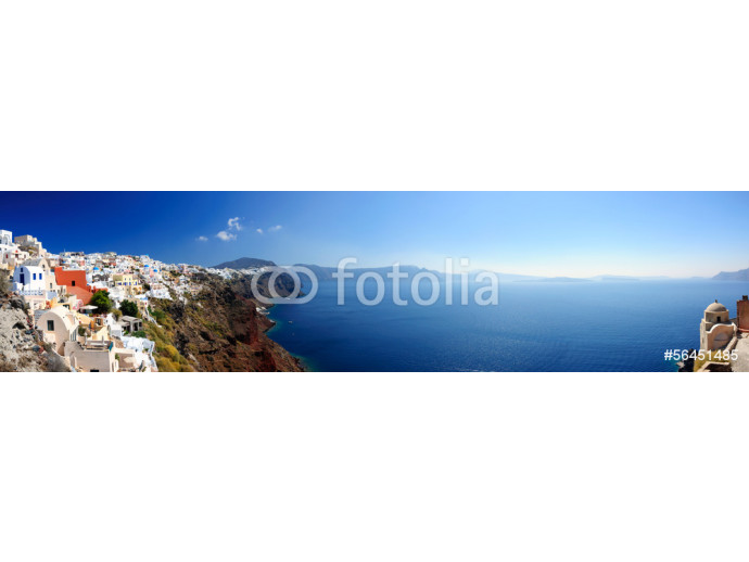 Panoramic view of Santorini village and volcanic bay, Greece 64238