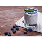 Pudding with chia seeds and blueberries. 64238