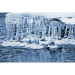 Spring landscape with transparent icicles on water 64238