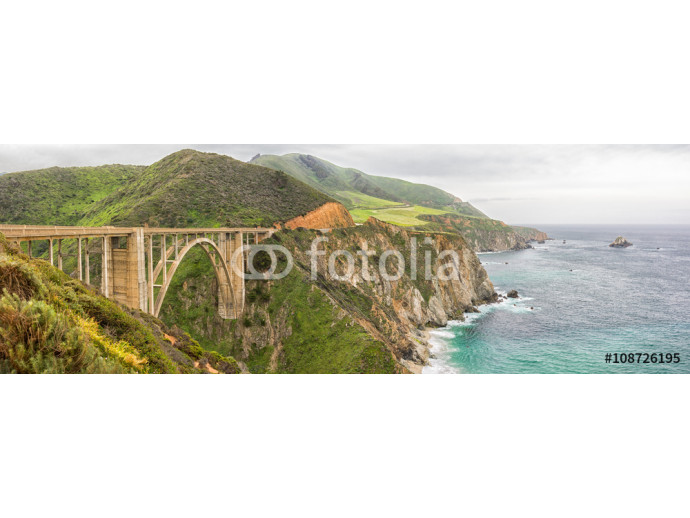 Panorama of the Bixby Bridge, An historic bridge on California Highway One, near Big Sur in Monterey County, California. 64238